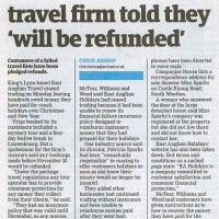 Customers of failed travel firm will be refunded