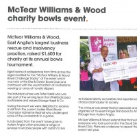McTear Williams & Wood charity bowls event