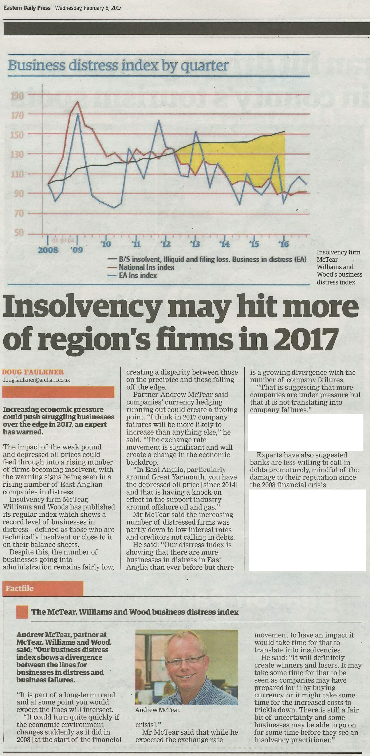Eastern Daily Press Article with Business Distress Index
