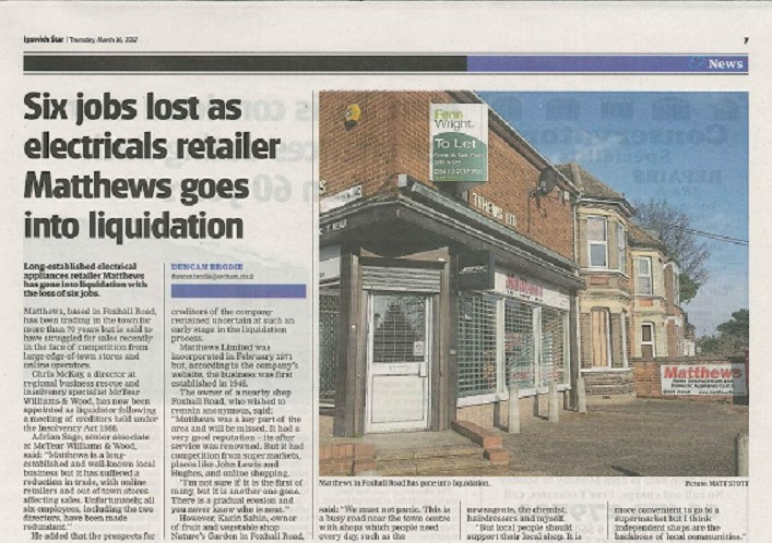 Ipswich Star article about Matthews Liquidation