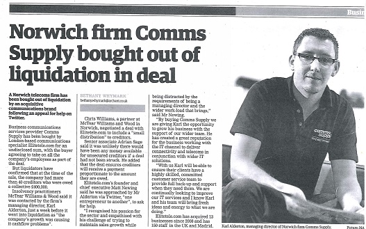 Archant article about Comms Supply avoiding liquidation