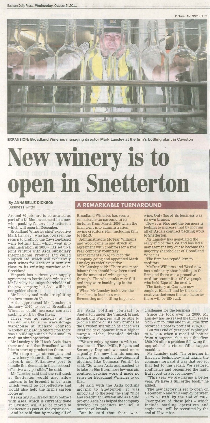 New winery is to open in Snetterton