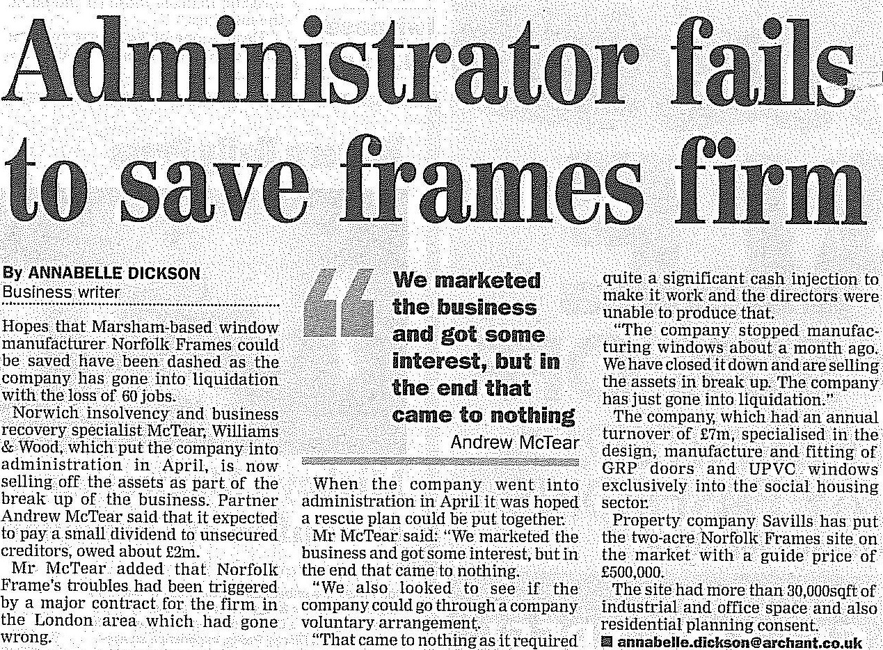 Administrator fails to save frames firm