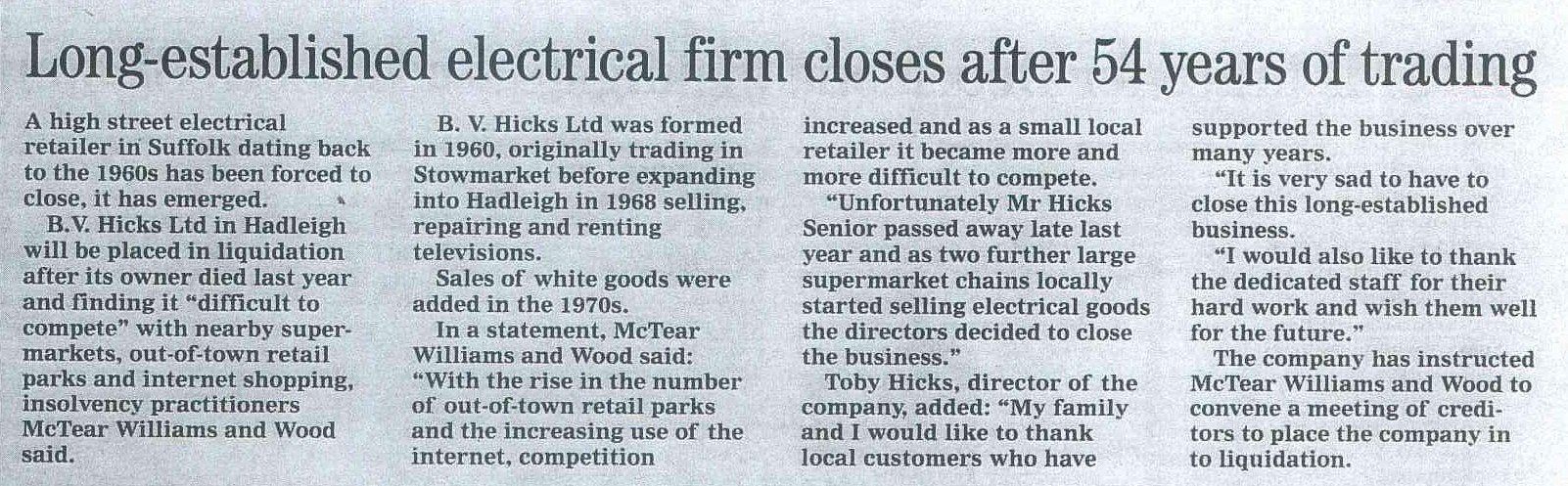 Hadleigh: electrical retailer B V Hicks to close after 54 years of trading